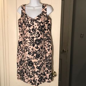 Petite size 10 pink and black floral sheath dress